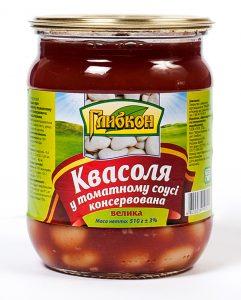 Фасоль в томатном соусе консервированная. Стерилизованная. Большая. Высший сорт